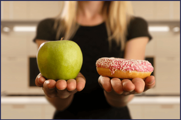 A woman in a black shirt holding a green apple in one hand and pink frosted donut in the other hand. The Best Dieting Tips for Bariatric Surgery You Have to See | Tips & Tricks | Graphic | dieting tips, dieting tips and tricks