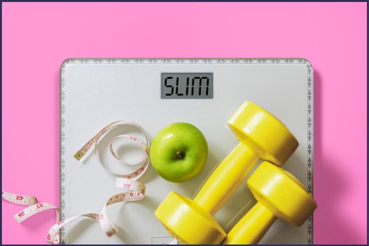A scale with a tape measure, green apple, and yellow weights on a hot pink background. How to Lose a Lot of Weight Fast - The Right Way | Drop 20 Pounds Fast! | Graphic | how to lose weight fast