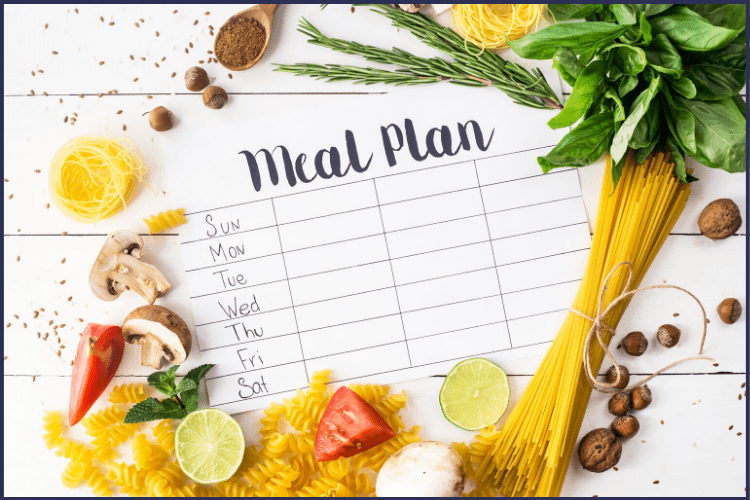A weekly plan schedule surrounded by healthy foods. How to Make a Healthy Meal Plan for Weight Loss | A Unique Plan For You | Graphic | BMI, banana