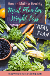 A variety of vegetables and fruit on a slate board next to a sign that says Meal Plan. How to Make a Healthy Meal Plan for Weight Loss | A Unique Plan For You | Graphic | BMI, banana
