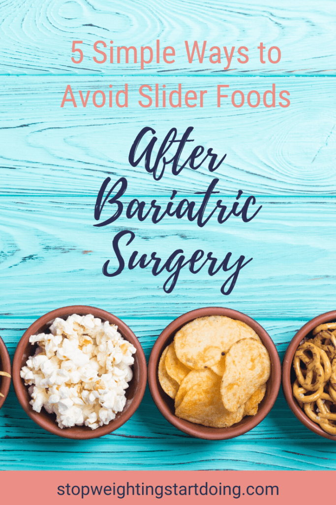 A bowl of chips, a bowl of popcorn, and a bowl of pretzel on an aqua blue wooden table. | 5 Simple Ways to Avoid Slider Foods After Bariatric Surgery | Let Go Now | Image | list of gastric sleeve slider foods