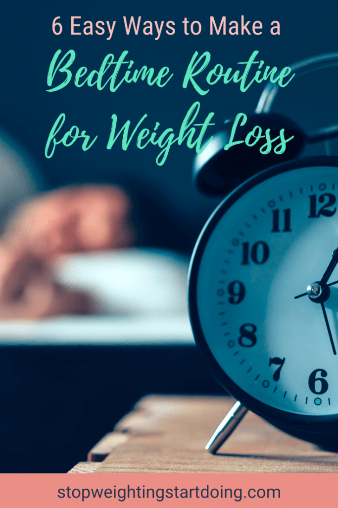 An alarm clock on a nightstand with a person sleeping in the background. | 6 Easy Ways to Make a Bedtime Routine for Weight Loss | Make it a Habit | Image | bedtime yoga routine, nighttime exercises to lose weight