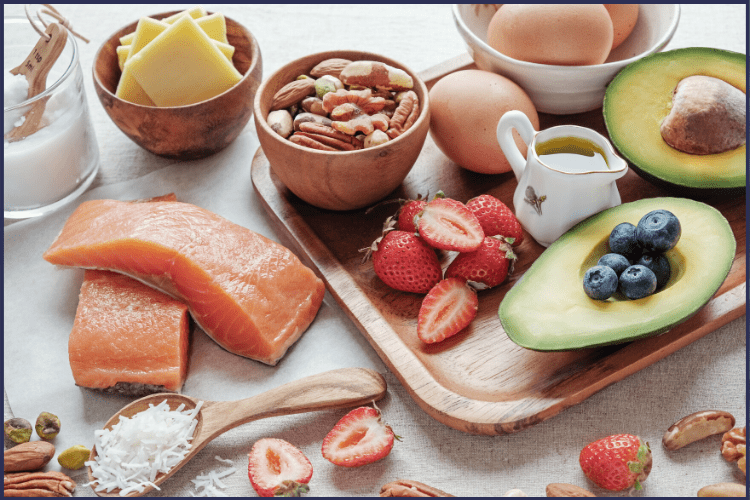 A bountiful spread of foods high in protein like cheese, salmon, eggs, avocado, and nuts. | The Best Foods You'll Want to Eat for the Regular Bariatric Diet | 5 Recipes | Graphic | bariatric diet stages, bariatric diet plan