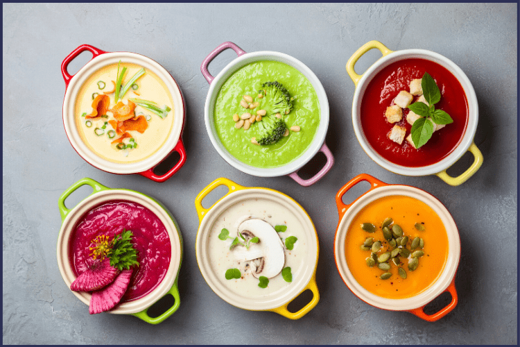 Various soups in different colored bowls. | The Ultimate Bariatric Post-Op Diet Guide You Need | Progressive Diet | Graphic | Grocery Lists, high protein foods, bariatric liquid diet