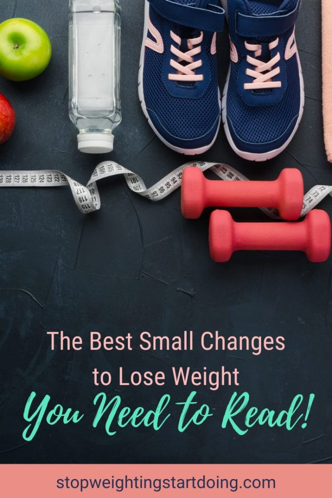 A pair of sneakers that are navy and baby pink next to a clear water bottle and green apple. A pink pair of hand weights and a measuring tape are below it. |The Best Small Changes To Lose Weight You Need to Read! | Get Started | Graphic | weight loss, lifestyle changes, weight loss programs