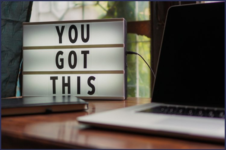 An illuminated sign that says You Got This next to a laptop. Staying Motivated When You Want to Give Up | How to Stay Focused | Graphic | motivation when you want to give up, staying motivated to lose weight