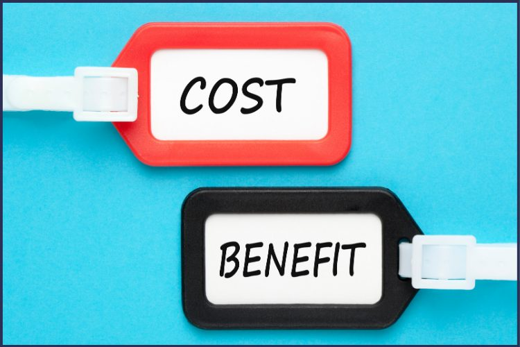 A red tag with the word Cost in it and a black tag with the word Benefit in it against a blue background. The Truth About the Benefits of Bariatric Surgery | Transform Your Life | Graphic | pros and cons of bariatric surgery, benefits of gastric sleeve surgery, gastric bypass
