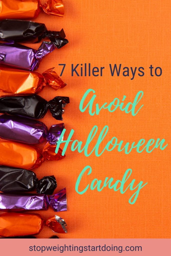 Orange, purple, and black candy taffy lined up in a row against an orange background. | 7 Killer Ways to Avoid Eating Halloween Candy | Be a Halloween Superstar! | Graphic | sugar-free candy, tips to avoid eating halloween candy