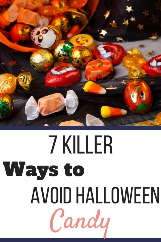 Halloween candy pouring out of a pumpkin bucket. 7 Killer Ways to Avoid Eating Halloween Candy | Be a Halloween Superstar! | Graphic | sugar-free candy, tips to avoid eating halloween candy
