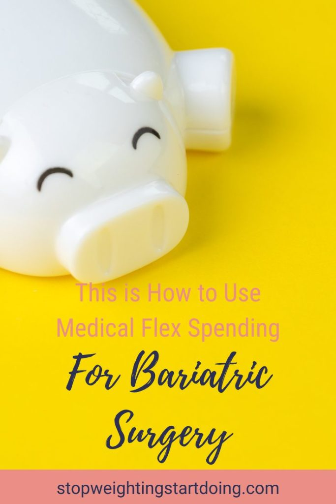 A white, sleeping piggy bank on a yellow background. | This is How to Use Medical Flex Spending for Bariatric Surgery | Graphic | FSA, Bariatric Vitamins, FSA Eligible