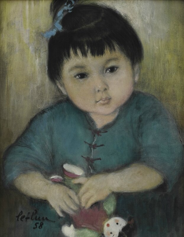 Lê Thị Lựu (1911-1988), Portrait of a young girl holding a doll, 1958