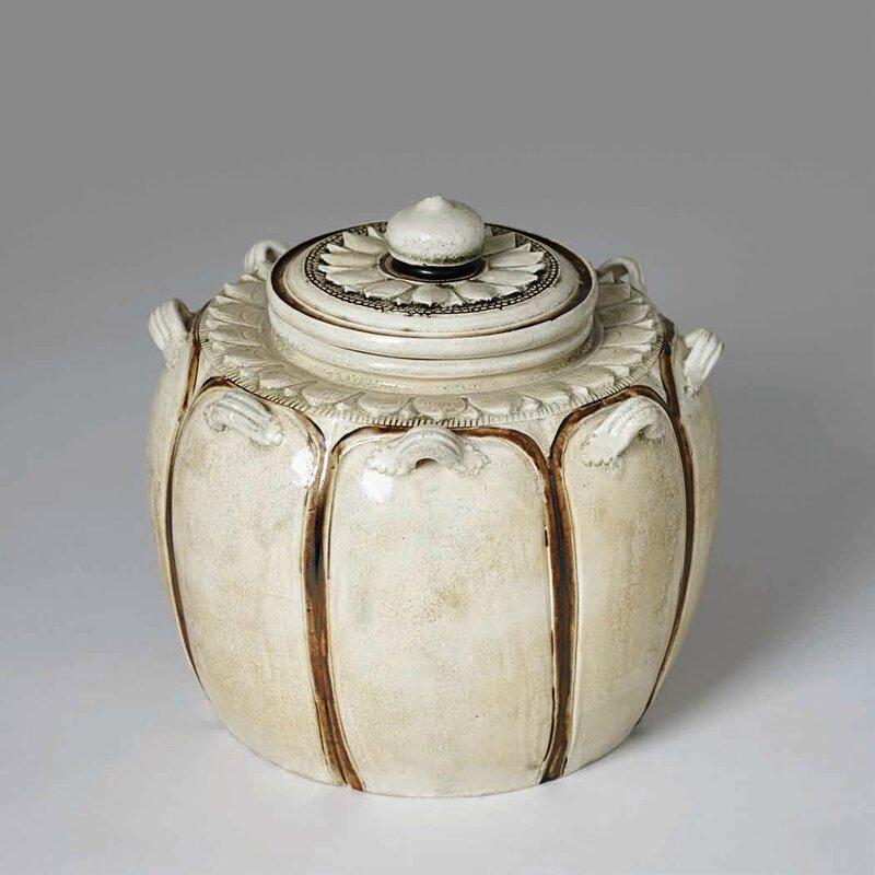 Brown and White Lidded Jar, Lý–Trần Dynasty, 12th–13th c