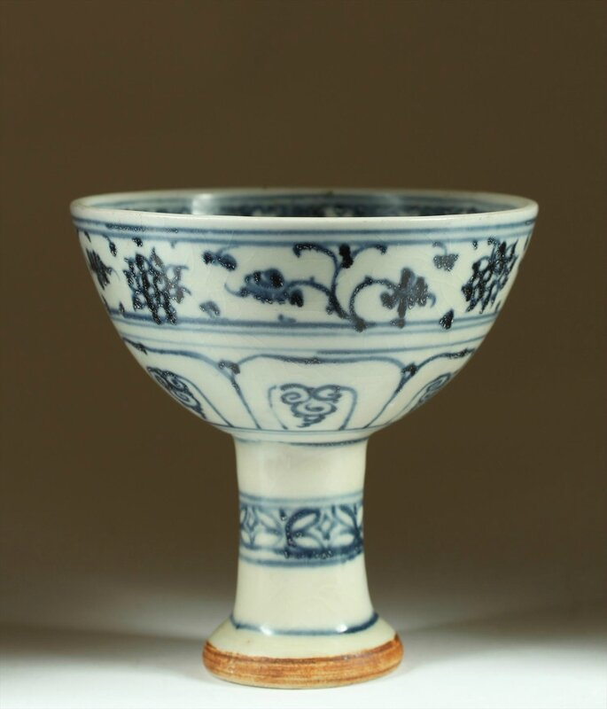Rare Blue and White Stemcup, late 15th-early 16th Century
