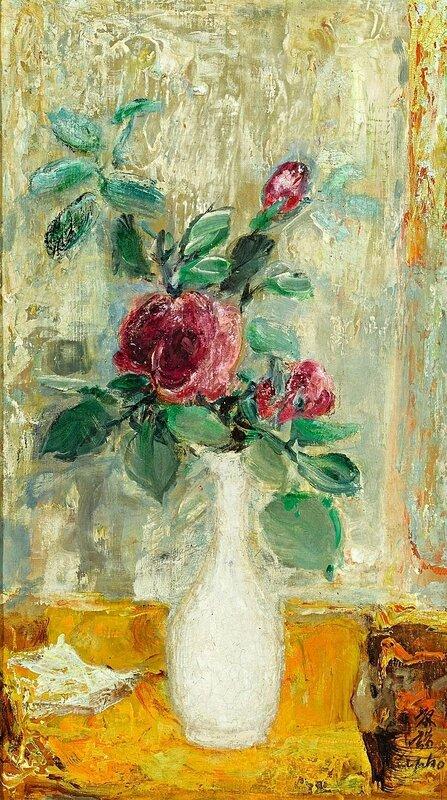 Lê Phổ (1907-2001), Roses au Vase d'Etain (Roses in a Tin Vase)