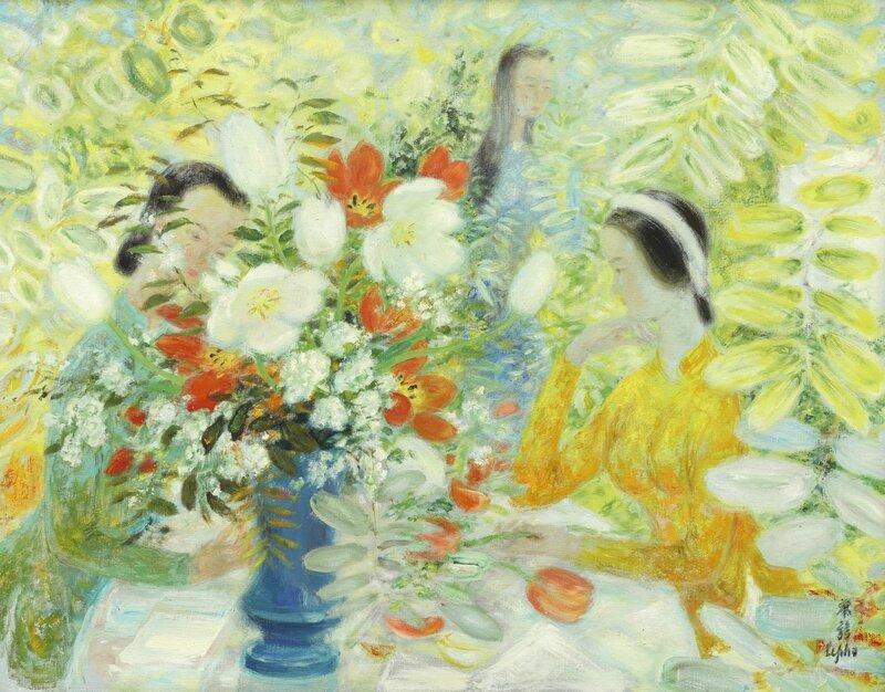 Lê Phổ (1907-2001), Jeunes filles au bouquet de tulipes (Young girls with bouquet of tulips)