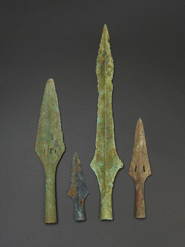 Lot composé de quatre pontes de lance, Culture de Đông Sơn, ca 500 BCE-100 BCE