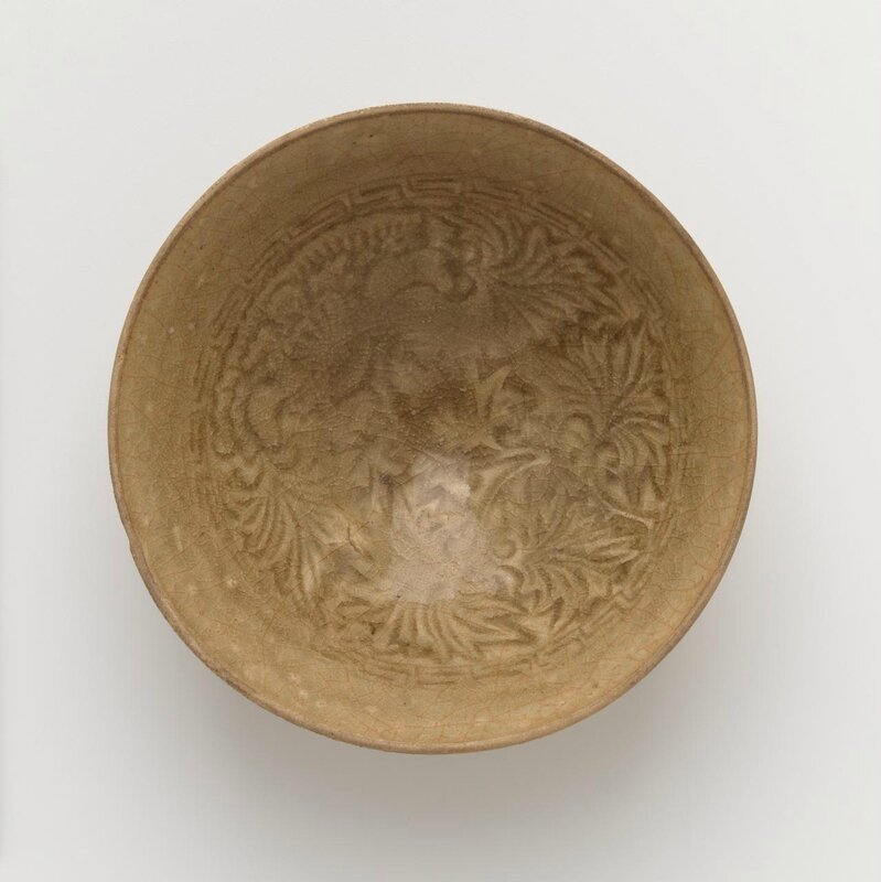 Bowl with moulded peony decoration, Vietnam, 12th century-13th century, earthenware, olive glaze,, 4