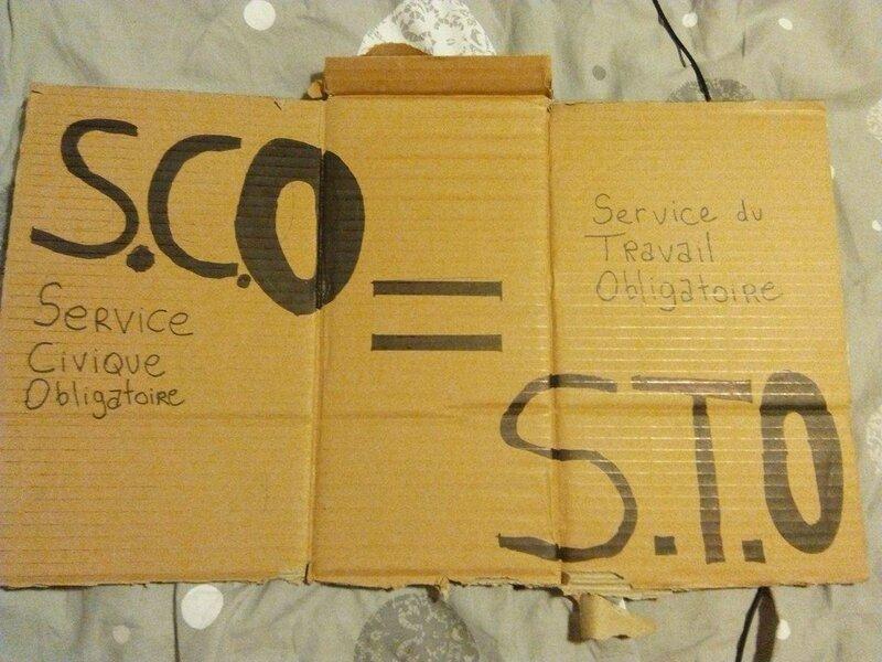 Le S.C.O ( Service Civique obligatoire) comparé au S.T.O. ( Service du Travail oblogatoire).Je sais qu'ils n'ont rien à voir mais cela va frapper les esprits