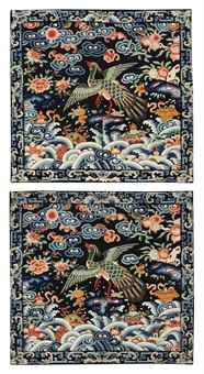 a_pair_of_embroidered_dark_blue_silk_civil_officials_rank_badges_of_pe_d5477065h