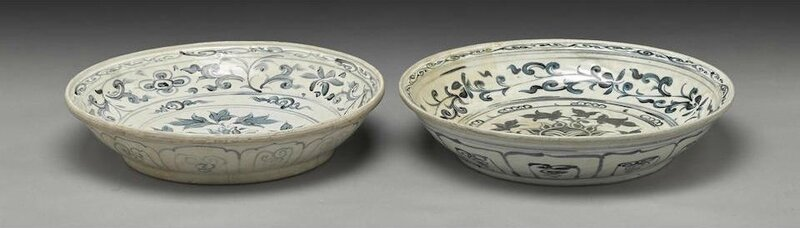 Two blue and white deep dishes, Vietnam, late 15th-early 16th century