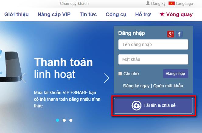 Fshare.VN ra mắt tính năng Upload không cần tài khoản