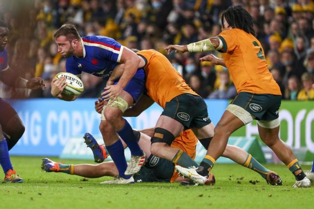 France's Anthony Jelonch runs at the defence during the rugby international between France and Australia at Suncorp Stadium in Brisbane, Australia, Wednesday, July 7, 2021. (AP Photo/Tertius Pickard)