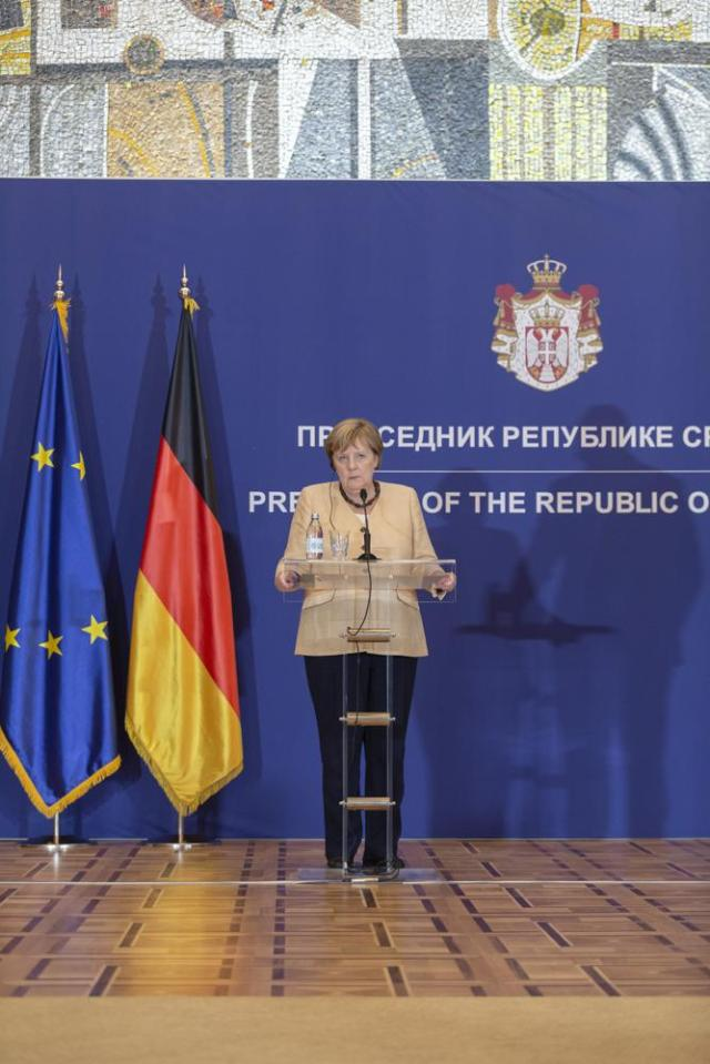 German Chancellor Angela Merkel is seen during a press conference in Belgrade, Serbia, Monday, Sept. 13, 2021. Merkel is on a farewell tour of the Western Balkans, as she announced in 2018 that she wouldn't seek a fifth term as Germany's Chancellor. (AP Photo/Marko Drobnjakovic)