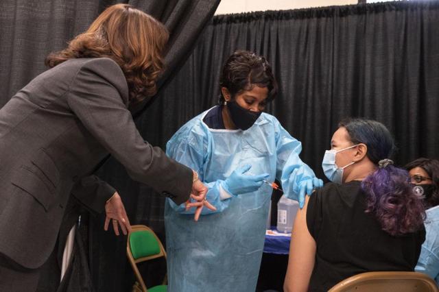 Vice President Kamala Harris tours a COVID-19 vaccination center in Newark, N.J., Friday, Oct. 8, 2021. (AP Photo/Jacquelyn Martin)