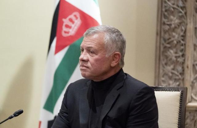FILE - In this May 26, 2021 file photo, Jordan's King Abdullah II listens during a meeting with Secretary of State Antony Blinken, in Amman, Jordan. (AP Photo/Alex Brandon, Pool, File)