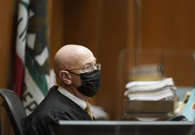 Los Angeles Superior Court Judge Larry P. Fidler wears a face mask during the sentencing hearing of Michael Thomas Gargiulo at Los Angeles Superior Court, Friday, July 16, 2021. The judge denied a new trial for Gargiulo, who could be sentenced to death later Friday for the home-invasion murders of two women and the attempted murder of a third. Judge Larry Fidler rejected a defense motion arguing there was not enough physical evidence against 45-year-old Gargiulo. (AP Photo/Damian Dovarganes)