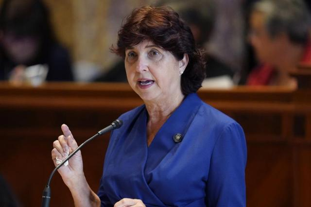 Sen. Beth Mizell, R-Franklinton, speaks in the Senate Chambers during a veto session in Baton Rouge, La., Tuesday, July 20, 2021. Louisiana state senators have narrowly voted to overturn Democratic Gov. John Bel Edwards' rejection of a bill prohibiting transgender students from participating in school sports. The vote came Tuesday on the opening day of the first veto session under the state's nearly 50-year-old constitution. (AP Photo/Gerald Herbert)