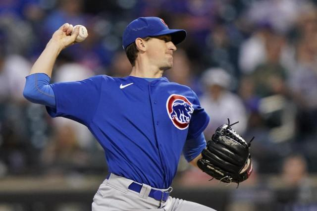 Chicago Cubs starting pitcher Kyle Hendricks winds up during the fifth inning of the team's baseball game against the Chicago Cubs, Thursday, June 17, 2021, in New York. (AP Photo/Kathy Willens)