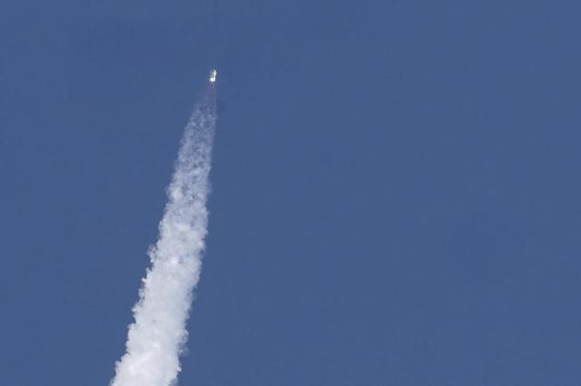 Blue Origin's New Shepard rocket launches carrying passengers Jeff Bezos, founder of Amazon and space tourism company Blue Origin, his brother Mark Bezos, Oliver Daemen and Wally Funk, from its spaceport near Van Horn, Texas, Tuesday, July 20, 2021. (AP Photo/Tony Gutierrez)