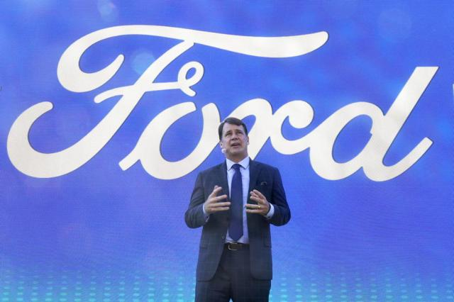Jim Farley, Ford president and CEO, speaks during a presentation on the planned factory to build electric F-Series trucks and the batteries to power future electric Ford and Lincoln vehicles Tuesday, Sept. 28, 2021, in Memphis, Tenn. The plant in Tennessee is to be built near Stanton, Tenn. (AP Photo/Mark Humphrey)