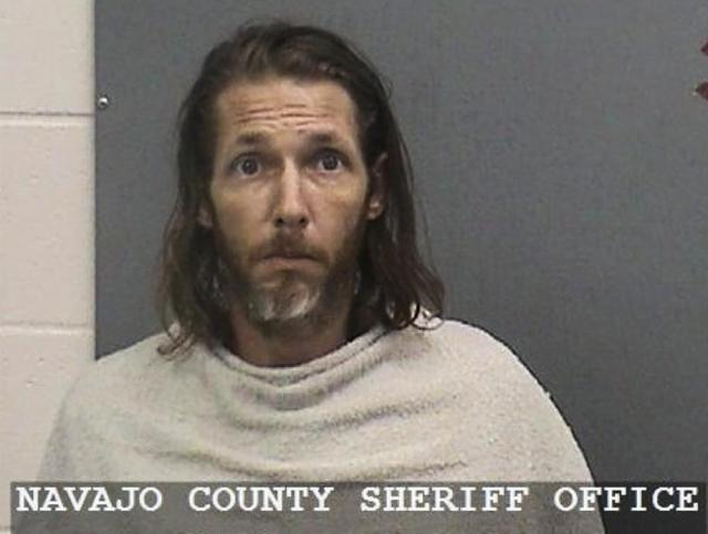 This June 19, 2021, photo provided by the Navajo County Sheriff Office shows suspect Shawn Michael Chock. Chock, a man accused of plowing his pickup truck into a group of bicyclists taking part in a race has been indicted on aggravated assault and other charges. He was indicted earlier this week on nine counts of aggravated assault with a deadly weapon, and one count each of fleeing an accident and unlawful flight. He is scheduled for an arraignment Monday, July 12, 2021 in Navajo County Superior Court, according to the clerk's office.  (Navajo County Sheriff Office via AP)