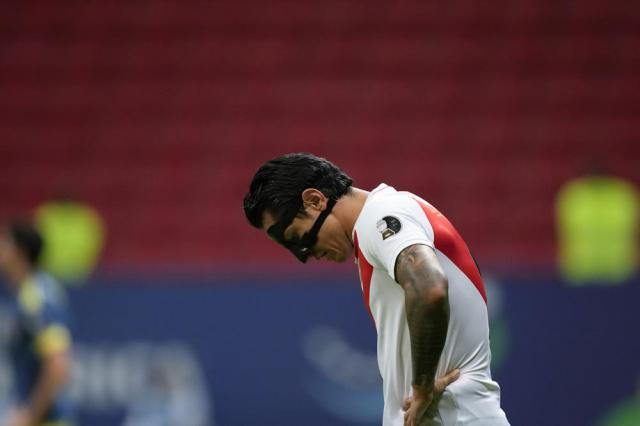 Peru's Gianluca Lapadula reacts during a Copa America third place soccer match against Colombia at the National stadium in Brasilia, Brazil, Friday, July 9, 2021. (AP Photo/Eraldo Peres)