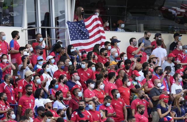 Fans of United States wait for a qualifying soccer match against Panama for the FIFA World Cup Qatar 2022 at Rommel Fernandez stadium, Panama city, Panama, Sunday, Oct. 10, 2021. (AP Photo/Arnulfo Franco)