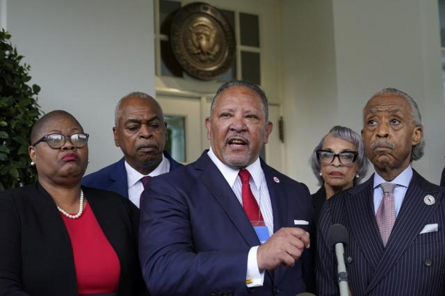 Marc Morial, center, President and Chief Executive Officer of the National Urban League, talks with reporters outside the West Wing of the White House in Washington, Thursday, July 8, 2021, following a meeting with President Joe Biden and leadership of top civil rights organizations. (AP Photo/Susan Walsh)