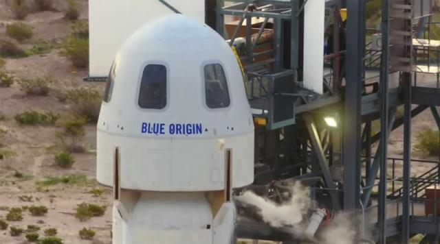 The passengers of the Blue Origin enter the capsule near Van Horn, Texas, Tuesday, July 20, 2021. The rocket is scheduled to launch later this morning will carry passengers Jeff Bezos, founder of Amazon and space tourism company Blue Origin, brother Mark Bezos, Oliver Daemen and Wally Funk.  (Blue Origin via AP)