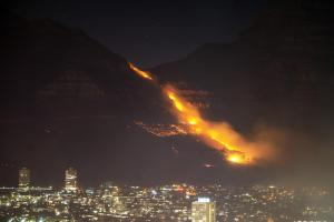 Cape Town Table Mountain fire under control, smoldering