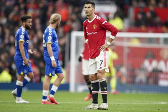 Manchester United's Cristiano Ronaldo reacts at the end of the English Premier League soccer match between Manchester United and Everton, at Old Trafford, Manchester, England, Saturday, Oct. 2, 2021. The match ended in a 1-1 draw. (AP Photo/Dave Thompson)