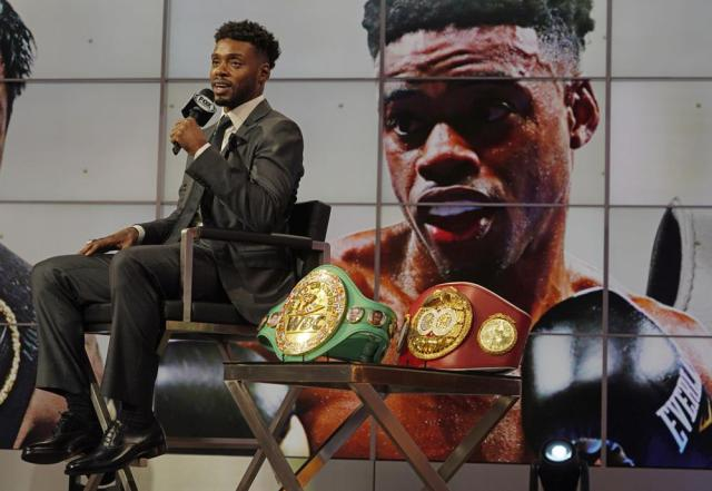 Errol Spence Jr., takes questions about his upcoming boxing match against Manny Pacquiao, at a news conference at the Fox Studios lot in Los Angeles, Sunday, July 11, 2021. (AP Photo/Damian Dovarganes)