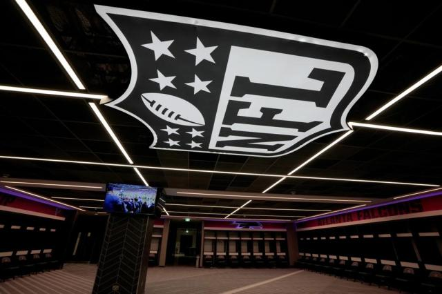 The Atlanta Falcons locker room in preparation to host NFL at the Tottenham Hotspur Stadium in London, Thursday, Oct. 7, 2021. After a one-year hiatus due to the pandemic, the NFL returns to London on Sunday when the Atlanta Falcons play the New York Jets at Premier League club Tottenham's $1.6 billion facility (AP Photo/Kirsty Wigglesworth)