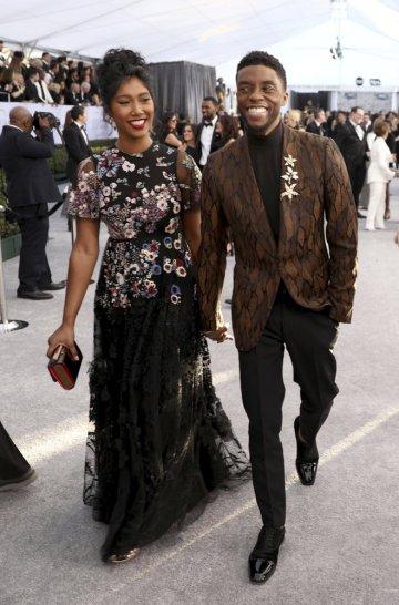 Boseman and Taylor Simone Ledward at the 2019 Screen Actors Guild Awards. (Photo by Matt Sayles/Invision/AP, File)