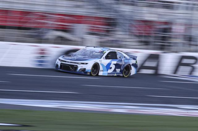 NASCAR Cup Series driver Kyle Larson drives in the NASCAR Cup Series auto race at Charlotte Motor Speedway in Concord, N.C., Sunday, May 30, 2021. (AP Photo/Nell Redmond)