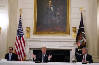 Despite increase in joblessness President Trump says he's in no rush to negotiate another financial rescue bill