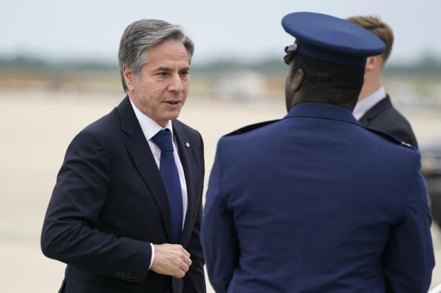 Secretary of State Antony Blinken arrives to depart Andrews Air Force Base, Md., Monday, May 24, 2021. Blinken is en route to the Middle East. (AP Photo/Alex Brandon, Pool)