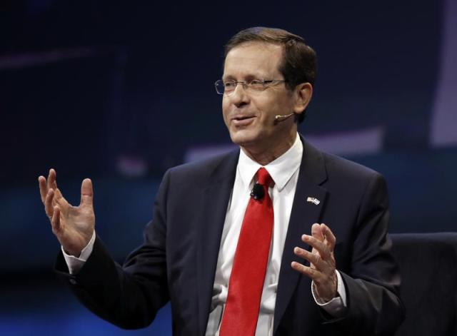 FILE - In this Monday, March 27, 2017, file photo, Isaac Herzog speaks at the AIPAC Policy Conference in Washington. The Israeli parliament on Wednesday, June 2, 2021, is set to choose the country's next president, a largely figurehead position that is meant to serve as the nation's moral compass and promote unity. Two candidates are running — Herzog, a veteran politician and scion of a prominent Israeli family, and Miriam Peretz, an educator who is seen as a down-to-earth outsider. (AP Photo/Manuel Balce Ceneta, File)