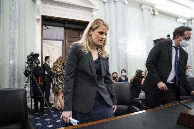 Former Facebook employee and whistleblower Frances Haugen arrives to testify during a Senate Committee on Commerce, Science, and Transportation hearing on Capitol Hill on Tuesday, Oct. 5, 2021, in Washington. (Jabin Botsford/The Washington Post via AP, Pool)