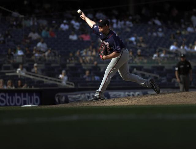 Minnesota Twins pitcher Tyler Duffey delivers to the New York Yankees during the seventh inning of a baseball game on Monday, Sept. 13, 2021, in New York. (AP Photo/Adam Hunger)